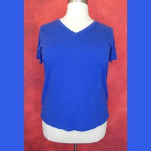 Woman Within Blue V Neck Top Size Large 18/20